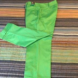 Green Crop Pant, Straight Leg